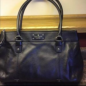 KATE SPADE Large Black Leather Tote Bag Satchel